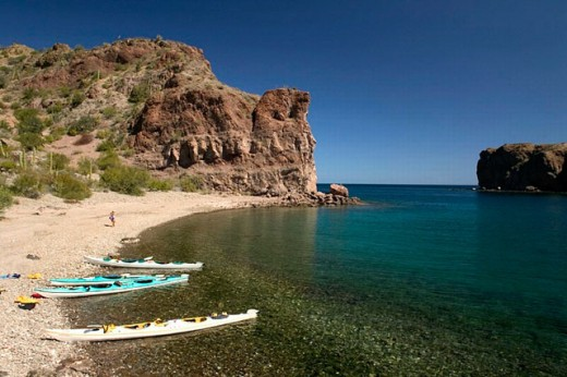 Sea Kayaking. Sea of Cortez, Isla Danzante area. Baja California Sur. Mexico. : Stock Photo