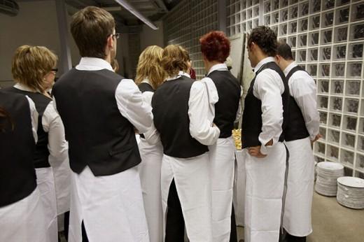 Waiters. Catering. Opening of Juantxo Mugica Decoración exhibition. Oyartzun, Gipuzkoa. Euskadi. Spain. : Stock Photo