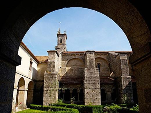 Santa Maria do Sar collegiate church, Santiago de Compostela. La Coruña province, Galicia, Spain : Stock Photo