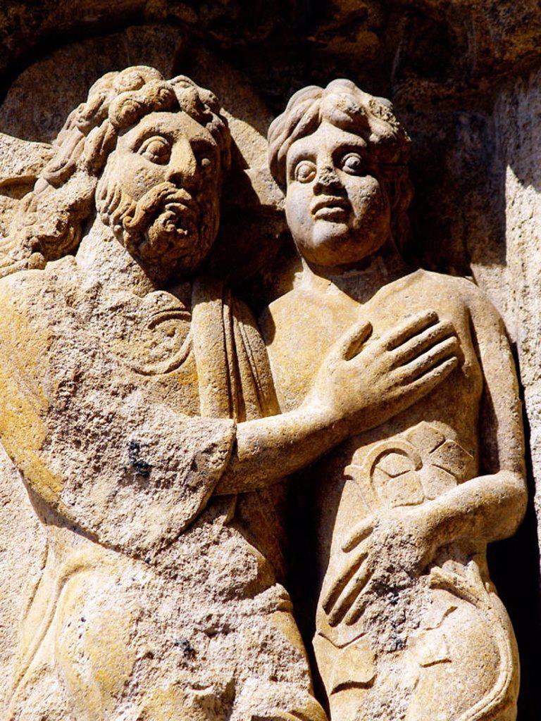 Stock Photo: 1566-264681 Detail of relief of the cathedral, Santiago de Compostela. La Coruña province, Galicia, Spain