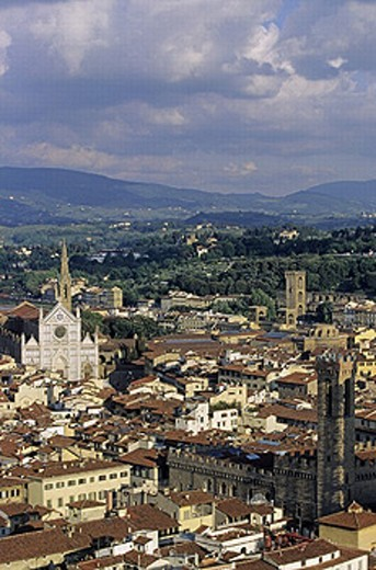 Stock Photo: 1566-265993 Church of Santa Croce seen from the cathedral bell tower, Florence. Tuscany, Italy