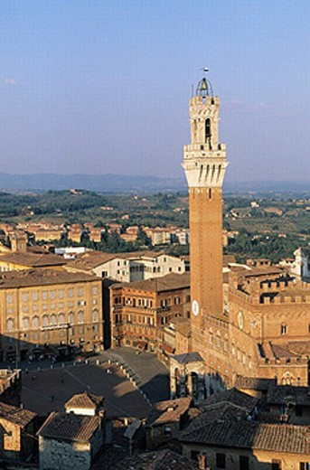 Stock Photo: 1566-266022 Piazza del Campo and Torre del Mangia, old town. Siena. Tuscany, Italy