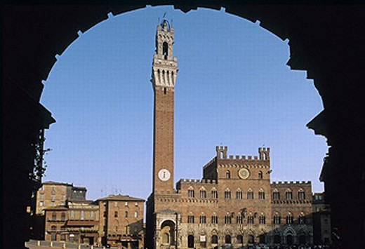 Piazza del Campo and Torre del Mangia, Siena. Tuscany, Italy : Stock Photo