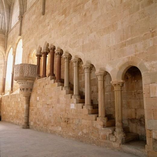 Gothic Refectory, 13th c. Monasterio de Santa María de Huerta, Soria province, Spain : Stock Photo