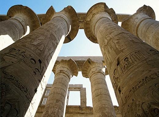 Columns, Temple of Karnak, Egypt : Stock Photo