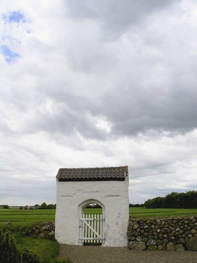 West gate to village church, Sahl, Sevel, Denmark : Stock Photo