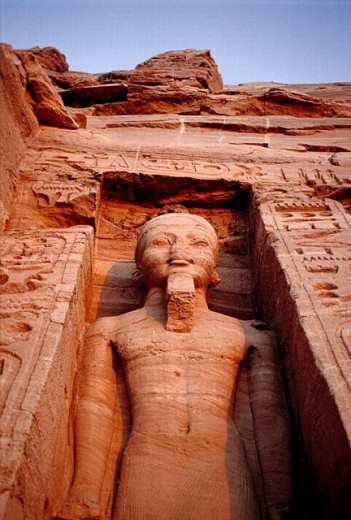 Nefertari (Ramses II wife) Temple on Lake Nasser bank. Abu Simbel. Nubia. Egypt : Stock Photo
