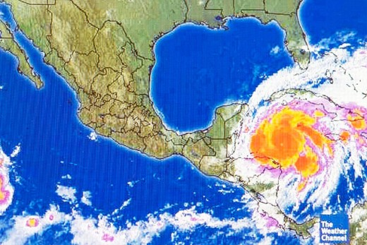 Stock Photo: 1566-270869 Hurricane weather map of a level 5 storm as viewed on the internet and on tv television