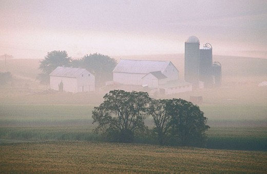 Pastoral farm scenic with buildings and misty sunlight : Stock Photo