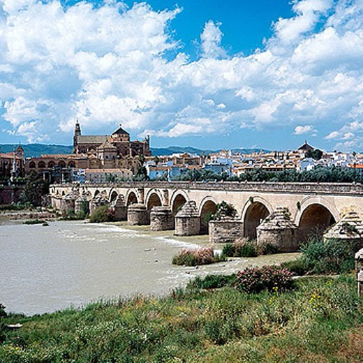 Roman bridge over Guadalquivir River with the mosque in backgroud. Córdoba. Spain : Stock Photo