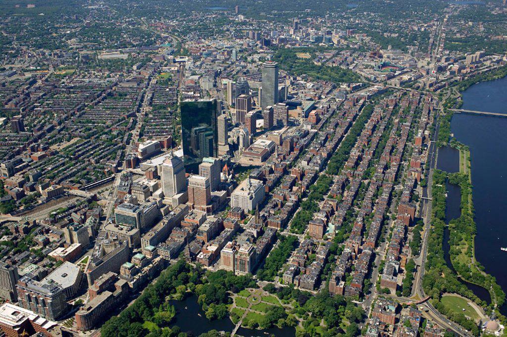 Stock Photo: 1566-275140 Back Bay aerial view, Boston, Massachusetts. USA.