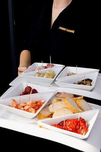 Stock Photo: 1566-276175 Germany, Hamburg, St. Pauli. A plate of tapas at the trendy and upmarket restaurant called River.