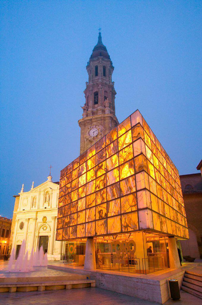 Museo del Foro Romano and Catedral de la Seo. Zaragoza. Aragon. Spain. : Stock Photo