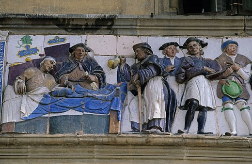 Detail of frieze, Ospedale del Ceppo (13th century), Pistoia. Tuscany, Italy : Stock Photo
