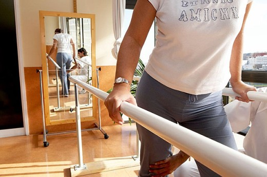 Rehabilitation, physiotherapy, parallel bars. Hospital Universitario Gran Canaria Doctor Negrin, Las Palmas de Gran Canaria. Canary Islands, Spain : Stock Photo