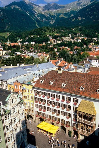 Old town, aerial view. Innsbruck. Tyrol. Austria. : Stock Photo