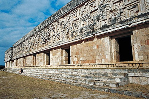 Stock Photo: 1566-280341 The Governor´s Palace in Pre-Columbian mayan ruins of Uxmal. Yucatan, Mexico