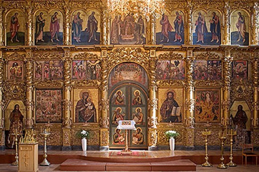 Iconostasis in the Cathedral of Transfiguration (1713), Kremlin of Uglich. Golden Ring, Russia : Stock Photo