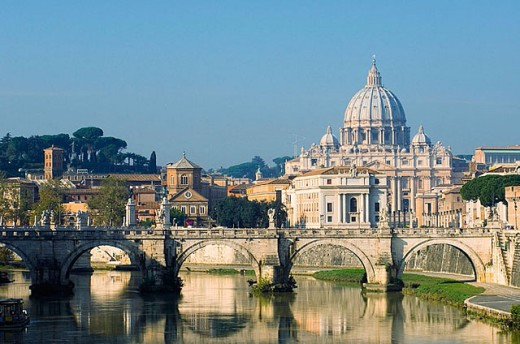 Stock Photo: 1566-280811 St. Peter´s basilica seen from Umberto Bridge, Rome. Lazio, Italy