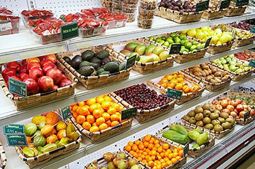 Fruits for sale. San Sebastian, Donostia, Gipuzkoa, Euskadi. Spain : Stock Photo