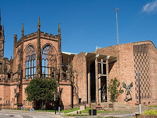 The Old and New Coventry Cathedral, Coventry, West Midlands, England : Stock Photo