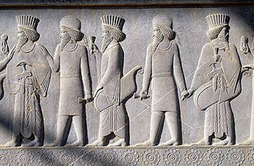Nobility. Bas-relief. East stairs. Apadana. Persepolis. Iran. : Stock Photo