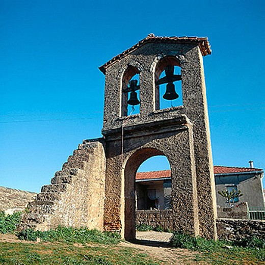 Stock Photo: 1566-282405 Bell gable next to the Visigothic church. San Pedro de la Nave, Zamora province, Castile-Leon, Spain