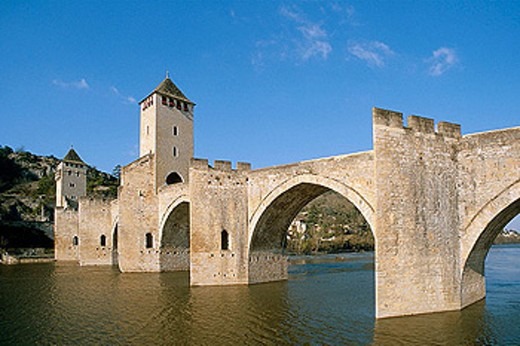 Valentré bridge. City of Cahors. Quercy. Lot. France. : Stock Photo