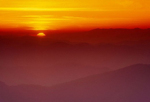 Stock Photo: 1566-282632 Mist shrouded North Carolina mountain ridges at sunrise from Clingman's Dome, Appalachian mountain sunrise. Great Smoky Mountains NP, TN, USA