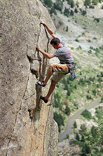 Stock Photo: 1566-282904 Climber. Cavallers. Vall de Bohí. Pyrenees. Lleida province. Spain.