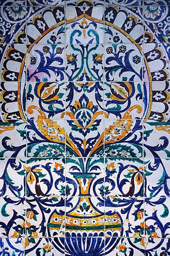 Wall tile detail in the Great Mosque of Kairouan, Tunisia. : Stock Photo
