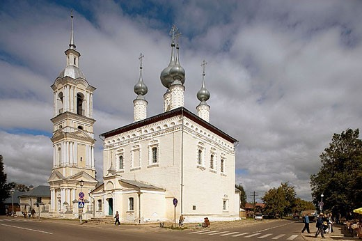 Stock Photo: 1566-285714 Church of Our Lady of Smolensk (1696-1706) and bell tower (late 18th century), Suzdal. Golden Ring, Russia