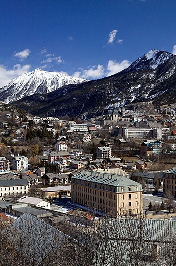 Stock Photo: 1566-286775 Town View. Daytime. Europe´s Highest Town (elev. 4334Ft/1321 M). Briançon. Haut-Alpes. French Alps. France.