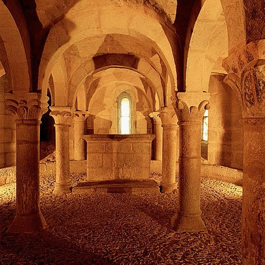 San Martín de Unx. Romanesque crypt. Navarra province. Spain. : Stock Photo