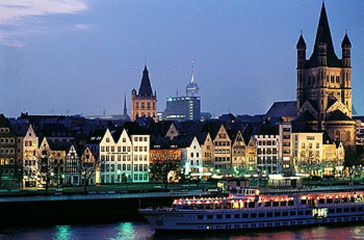 Cathedral and Rhine waterfront. Köln. North Rhine Westphalia, Germany : Stock Photo