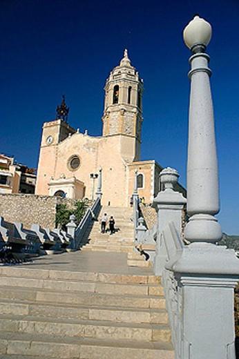 Stock Photo: 1566-287415 Church of Sant Bartomeu. Sitges. Barcelona province, Catalonia. Spain