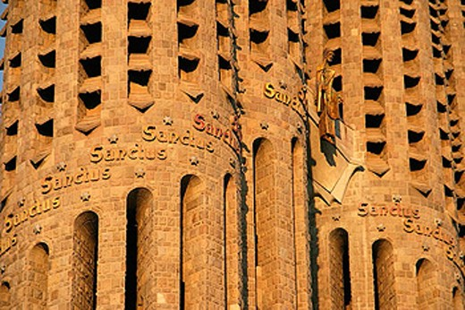 Stock Photo: 1566-287417 Detail of bell towers of the Sagrada Familia (Church of the Holy Family), by Gaudí. Barcelona. Catalonia. Spain