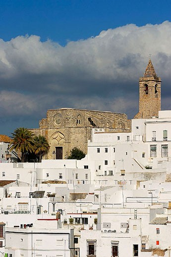 Church of the Divino Salvador (14th century), Vejer de la Frontera. Cádiz province, Andalusia, Spain : Stock Photo
