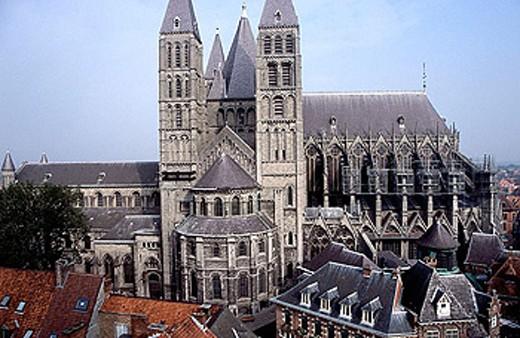 Stock Photo: 1566-288120 Notre-Dame cathedral. Tournai. Belgium.