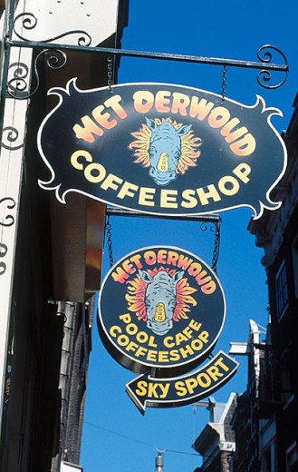 Stock Photo: 1566-288352 Coffee shop sign, Amsterdam. Holland