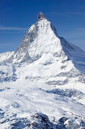 Stock Photo: 1566-288733 View of the Matterhorn / Winter. Gornergrat Mountain (el.3089 meters). Zermatt. Valais-Wallis. Switzerland.