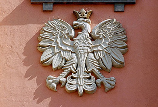 Eagle shield from Town Hall in Zamosc, Poland : Stock Photo