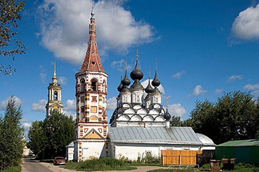 Stock Photo: 1566-290111 Winter church of St. Antipas (1745) and summer church of St. Lazarus (1667), Suzdal. Golden Ring, Russia