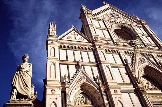 Stock Photo: 1566-290466 Santa Croce church and Dante Alighieri statue. Florence. Italy.