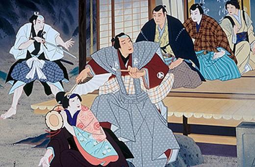 A Kabuki poster above the Minamiza Kabuki theatre. Kyoto city. Kyoto. Japan. : Stock Photo