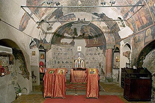 Frescoes in church of St. Petka of the Saddlers (14th century), Sofia. Bulgaria : Stock Photo