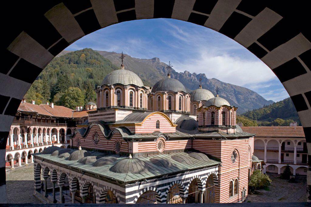 Stock Photo: 1566-291399 Church of the Nativity, Rila monastery. Bulgaria