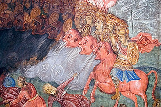 Frescoes in the Preobrazhenski Monastery founded in the 13th century, Veliko Tarnovo. Bulgaria : Stock Photo