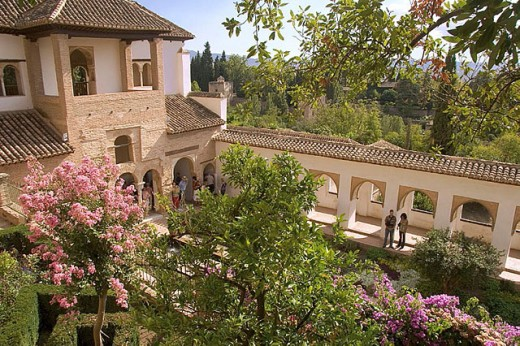 ´Patio de la Acequia´ of the Generalife, at Granada. Spain. : Stock Photo
