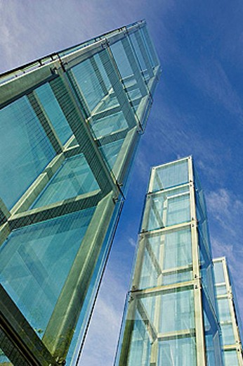 Massachusetts, Boston, New England Holocaust Memorial towers, six glass towers along Freedom Trail : Stock Photo